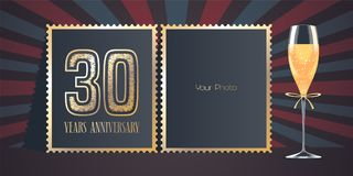 30 years anniversary vector icon, logo. Template design, greeting card with collage of photo frames, number for 30th anniversary and champagne for background Stock Photography