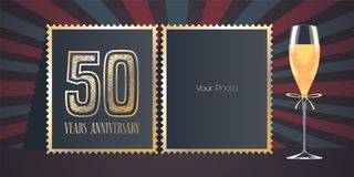 50 years anniversary vector icon, logo. Template design, greeting card with collage of photo frames, number for 50th anniversary and champagne for background stock illustration