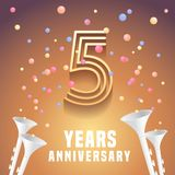 5 years anniversary vector icon, symbol. Graphic design element with festive background and horns for 5th anniversary royalty free illustration