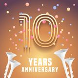 10 years anniversary vector icon, symbol. Graphic design element with festive background and horns for 10th anniversary Royalty Free Stock Image