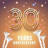 30 years anniversary vector icon, symbol. Graphic design element with festive background and horns for 30th anniversary Stock Photo