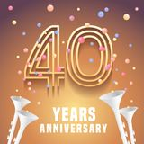 40 years anniversary vector icon, symbol. Graphic design element with festive background and horns for 40th anniversary stock illustration