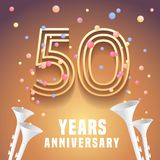 50 years anniversary vector icon, symbol. Graphic design element with festive background and horns for 50th anniversary Royalty Free Stock Photos