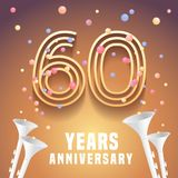 60 years anniversary vector icon, symbol. Graphic design element with festive background and horns for 60th anniversary Royalty Free Stock Photo