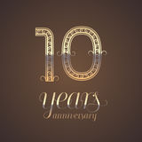 10 years anniversary vector icon, symbol. Graphic design element with golden number for 10th anniversary greeting card Royalty Free Stock Photos