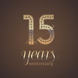 15 years anniversary vector icon, symbol. Graphic design element with golden number for 15th anniversary greeting card Royalty Free Stock Photos