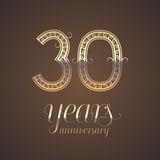 30 years anniversary vector icon, symbol. Graphic design element with golden number for 30th anniversary greeting card Stock Photos