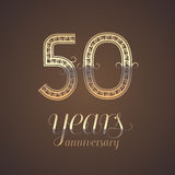 50 years anniversary vector icon, symbol. Graphic design element with golden number for 50th anniversary greeting card Royalty Free Stock Photos