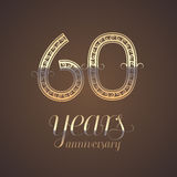 60 years anniversary vector icon, symbol. Graphic design element with golden number for 60th anniversary greeting card royalty free illustration