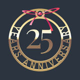 25 years anniversary vector icon, symbol. Graphic design element or logo with golden medal and red ribbon for 25th anniversary royalty free illustration