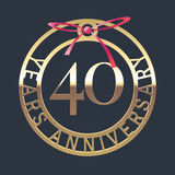 40 years anniversary vector icon, symbol. Graphic design element or logo with golden medal and red ribbon for 40th anniversary vector illustration
