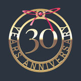 30 years anniversary vector icon, symbol. Graphic design element or logo with golden medal and red ribbon for 30th anniversary Stock Photos