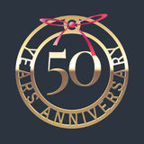 50 years anniversary vector icon, symbol. Graphic design element or logo with golden medal and red ribbon for 50th anniversary Stock Photo