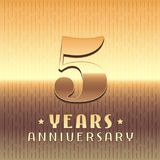 5 years anniversary vector icon, symbol. Graphic design element or logo with golden metal number for 5th anniversary vector illustration