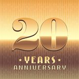20 years anniversary vector icon, symbol. Graphic design element or logo with golden metal number for 20th anniversary Stock Photos