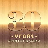 30 years anniversary vector icon, symbol. Graphic design element or logo with golden metal number for 30th anniversary Royalty Free Stock Photography