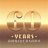 60 years anniversary vector icon, symbol. Graphic design element or logo with golden metal number for 60th anniversary stock illustration