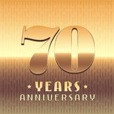 70 years anniversary vector icon, symbol. Graphic design element or logo with golden metal number for 70th anniversary Royalty Free Stock Image