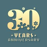 30 years anniversary vector icon, symbol, logo. Graphic design element for 30th anniversary birthday card or invitation Stock Photos