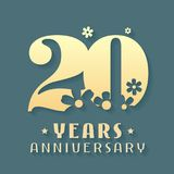 20 years anniversary vector icon, symbol, logo. Graphic design element for 20th anniversary birthday card or invitation Stock Images