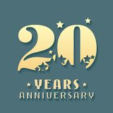 20 years anniversary vector icon, symbol, logo. Graphic design element for 20th anniversary birthday card Stock Photos