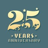 25 years anniversary vector icon, symbol, logo. Graphic design element for 25th anniversary birthday card Stock Photography