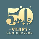50 years anniversary vector icon, symbol, logo. Graphic design element for 50th anniversary birthday card or invitation Royalty Free Stock Photos