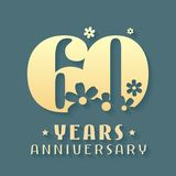 60 years anniversary vector icon, symbol, logo. Graphic design element for 60th anniversary birthday card or invitation Stock Illustration