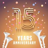 15 years anniversary vector icon, symbol. Graphic design element with festive background and horns for 15th anniversary Royalty Free Stock Images