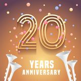 20 years anniversary vector icon, symbol. Graphic design element with festive background and horns for 20th anniversary Royalty Free Stock Photo