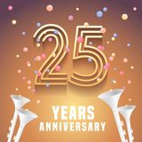 25 years anniversary vector icon, symbol. Graphic design element with festive background and horns for 25th anniversary Stock Image