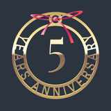 5 years anniversary vector icon, symbol. Graphic design element or logo with golden medal and red ribbon for 5th anniversary stock illustration