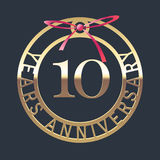10 years anniversary vector icon, symbol. Graphic design element or logo with golden medal and red ribbon for 10th anniversary royalty free illustration