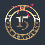 15 years anniversary vector icon, symbol. Graphic design element or logo with golden medal and red ribbon for 15th anniversary royalty free illustration