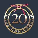 20 years anniversary vector icon, symbol. Graphic design element or logo with golden medal and red ribbon for 20th anniversary Royalty Free Stock Images
