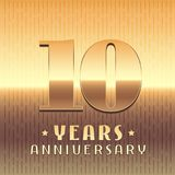 10 years anniversary vector icon, symbol. Graphic design element or logo with golden metal number for 10th anniversary Royalty Free Stock Images