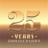 25 years anniversary vector icon, symbol. Graphic design element or logo with golden metal number for 25th anniversary Stock Images