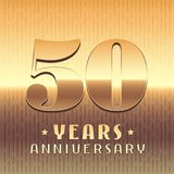 50 years anniversary vector icon, symbol. Graphic design element or logo with golden metal number for 50th anniversary Royalty Free Stock Photos
