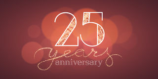 25 years anniversary vector illustration, banner. Flyer, icon, symbol, sign, logo. Graphic design element with bokeh effect for 25th anniversary, birthday card Stock Image