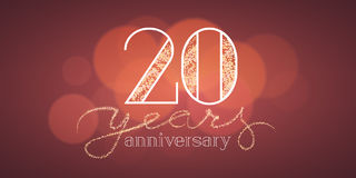20 years anniversary vector illustration, banner. Flyer, icon, symbol, sign, logo. Graphic design element with bokeh effect for 20th birthday card Royalty Free Stock Images
