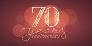 70 years anniversary vector illustration, banner. Flyer, icon, symbol, sign, logo. Graphic design element with bokeh effect for 70th birthday card Royalty Free Stock Photography