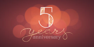 5 years anniversary vector illustration, banner. Flyer, icon, symbol, sign, logo. Graphic design element with bokeh effect for 5th birthday card Royalty Free Stock Image