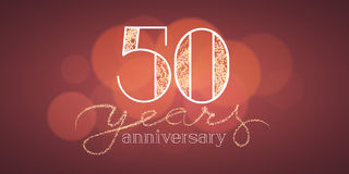 50 years anniversary vector illustration, banner. Flyer, icon, symbol, sign, logo. Graphic design element with bokeh effect for 50th birthday card Stock Photo