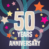 50 years anniversary vector illustration, banner, flyer, icon. Symbol, sign, logo. Graphic design element with fireworks for 50th anniversary, birthday card Royalty Free Stock Photo