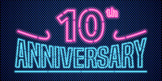 10 years anniversary vector illustration, banner, flyer, logo. Icon, symbol, advertisement. Graphic design element with vintage style neon font for 10th vector illustration