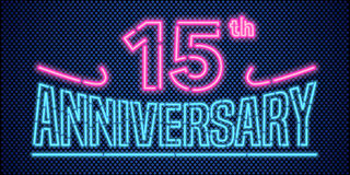 15 years anniversary vector illustration, banner, flyer, logo. Icon, symbol, advertisement. Graphic design element with vintage style neon font for 15th Royalty Free Stock Image