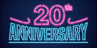 20 years anniversary vector illustration, banner, flyer, logo. Icon, symbol, advertisement. Graphic design element with vintage style neon font for 20th Stock Photos