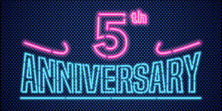 5 years anniversary vector illustration, banner, flyer, logo. Icon, symbol, advertisement. Graphic design element with vintage style neon font for 5th Stock Image