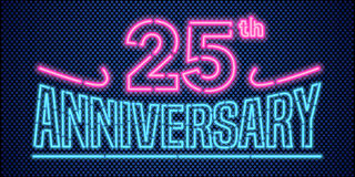 25 years anniversary vector illustration, banner, flyer, logo. Icon, symbol, advertisement. Graphic design element with vintage style neon font for 25th Stock Image