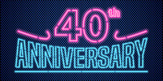 40 years anniversary vector illustration, banner, flyer, logo. Icon, symbol, advertisement. Graphic design element with vintage style neon font for 40th Stock Image